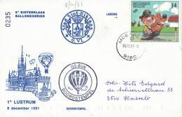 Courrier Par Ballon (montgolfière). 1991. Sint-Niklaas =>Moerbeke. Pilote: ?  Fête De La Saint-Nicolas. - Aéreo