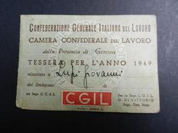 19916) CONFEDERAZIONE GENERALE LAVORO 1949 TESSERA CON BOLLINI - Documenti Storici