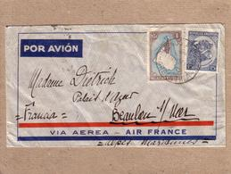 """ARGENTINE - LETTRE DEPART BUENOS AIRES , VIA AIR FRANCE , POUR LA FRANCE , GRIFFE """" PILOTO JUAN MERMOZ """" - 1937 - Argentine"""