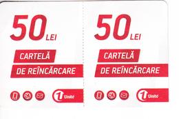 Moldova   Moldavie  Moldau ,  Prepaid Phonecards -  Unlte  ,  50 Lei  +50 Lei , Paper , Used - Moldova