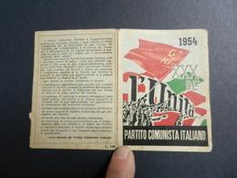 19916) PARTITO COMUNISTA ITALIANO TESSERA 1954 TESSERA CON BOLLINI - Documenti Storici