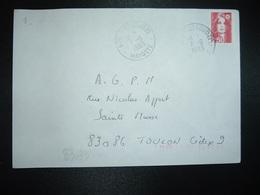 LETTRE TP M. DE BRIAT 2,50 OBL.7-6 1993 976 DZAOUDZI MAYOTTE - Marcophilie (Lettres)