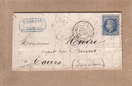 NIEVRE , INDRE ET LOIR - LA CHARITE - LETTRE LA CHARITE POUR TOURS , PC 897 - A. GALLIE - 1869 - Marcophilie (Lettres)
