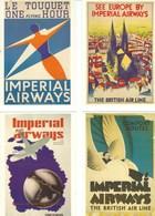4 POSTCARDS IMPERIAL AIRWAYS ADVERTISING - Advertising