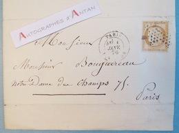 L.A.S 1876 A. VILLAIN Au Peintre William BOUGUEREAU Cachet + Timbre Céres 15c N°55 Lettre Autographe LAS - Autographes