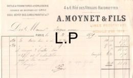 32-0569   1879 OUTILS ET FOURNITURES D HORLOGERIE A MOYNET ET FILS A PARIS - M. PEYGUE - France