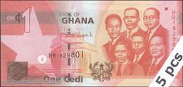 TWN - GHANA 37f - 1 Cedi 1.7.2015 DEALERS LOT X 5 - Prefix HR UNC - Ghana