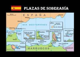 Spanish Territories Map Spain Plazas De Soberania New Postcard - Spagna