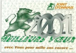 DOUBLE-CARTE . MEILLEURS VOEUX 2001 . JOINT LYONNAIS . 11 RUE DU VINATIER .69 500 . BRON . CARTE A TIRAGE LIMITE NON ECR - Bron