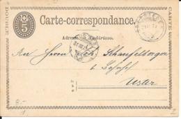 Schweiz GS Karte 1873 Oberieden - Uster - Briefe U. Dokumente