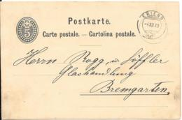 Schweiz Ganzsachen Karte 1879 Kriens-Bremgarten - Lettres & Documents