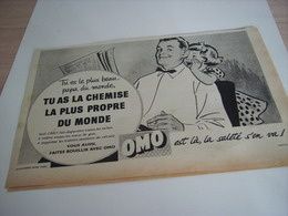 ANCIENNE PUBLICITE CHEMISE LA PLUS PROPRE OMO 1958 - Publicité