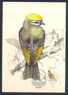 Portugal MADEIRA 1987 Maximum Card: Fauna Bird Vogel Oiseau: The Common Firecrest (Regulus Ignicapilla) - Vögel