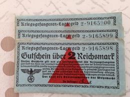 ALLEMAGNE Lot De 3 Billets Des Camps De Prisonniers Numéros Qui Se Suivent - [ 4] 1933-1945 : Troisième Reich