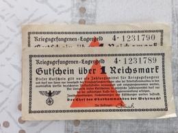 ALLEMAGNE Lot De 2 Billets Des Camps De Prisonniers Numéros Qui Se Suivent - [ 4] 1933-1945 : Troisième Reich