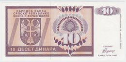 Bosnia Herzegovina ( Srpska Rep ) P 133 - 10 Dinara 1992 - AUNC - Bosnia Erzegovina
