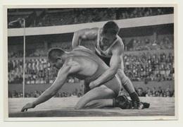 Sammelbild Vignette Olympia 1936 Ringen Schäfer Deutschland Jugoslawien Fischer - Ringen