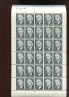 Belgie 1967 1419 Robert Schumann France Europa Cept Luppi Full Sheet  MNH Plaatnummer 2 Curiosité Déplacement à Gauche - Feuilles Complètes