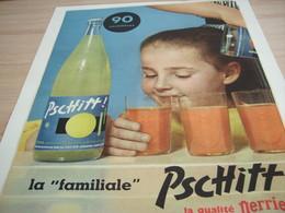ANCIENNE PUBLICITE QUALITE PERRIER LIMONADE PSCHITT  1957 - Affiches