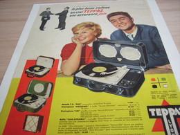 ANCIENNE  PUBLICITE  ELECTROPHONE  DE TEPPAZ 1958 - Autres