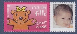 """= Timbre à Message """"C'est Une Fille"""" Avec Photo , Tirage Offset YT N° 3432b Et Spink N°2b Personnalisation Privée - Gepersonaliseerde Postzegels"""