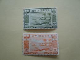 1938 Nouvelles Hébrides Yv 112/3 * MH -  Bateaux Ships Cote 3.50 €  Michel 97/8 Scott 56/7  SG 52/3 - Légende Anglaise
