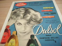 ANCIENNE PUBLICITE ULTRA NOUVEAU SHAMPOOING DULSOL  1958 - Perfume & Beauty