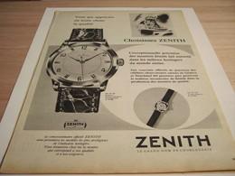 ANCIENNE PUBLICITE  MONTRE ZENITH   1958 - Joyas & Relojería