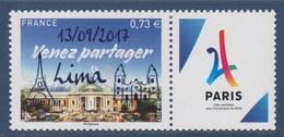 = Paris Jeux Olympiques 2024 Venez Partager Surchargé 13/09/2017 LIMA N°5144A Avec Vignette Logo Tour Eiffel Stylisée - Ongebruikt