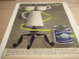 ANCIENNE PUBLICITE   LAIT SUR MESURE MONT BLANC 1958 - Afiches