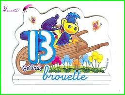 """Magnet Pochoir GERVAIS L'Alphabet De La Ferme Animaux Fruits Produits """" Le B De Brouette """" - Letters & Digits"""