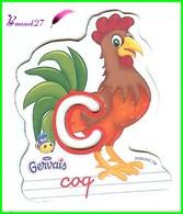 """Magnet Pochoir GERVAIS L'Alphabet De La Ferme Animaux Fruits Produits """" Le C De Coq """" - Letters & Digits"""