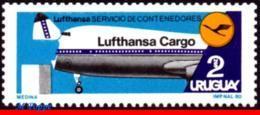 Ref. UR-1064 URUGUAY 1980 - LUFTHANSA CARGO CONTAINER, SERVICE INAUGURATION, MNH, PLANES, AVIATION 1V Sc# 1064 - Uruguay