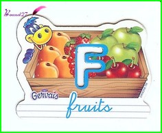 """Magnet Pochoir GERVAIS L'Alphabet De La Ferme Animaux Fruits Produits """" Le F De Fruits """" - Letters & Digits"""