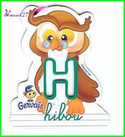 """Magnet Pochoir GERVAIS L'Alphabet De La Ferme Animaux Fruits Produits """" Le H De Hibou """" - Letters & Digits"""