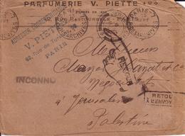 PARIS , PALESTINE - LETTRE PARFUMERIE V. PIETTE DE PARIS POUR JERUSALEM , AVEC RETOUR A L' ENVOYEUR - 1921 ?? - Marcophilie (Lettres)