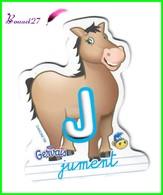 """Magnet Pochoir GERVAIS L'Alphabet De La Ferme Animaux Fruits Produits """" Le J De Jument """" - Letras & Cifras"""