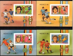 GUINEA 1986 SPORT, SOCCER, SPACE MNH MI. BL. 241 - 244 IMPERF. - Calcio