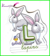 """Magnet Pochoir GERVAIS L'Alphabet De La Ferme Animaux Fruits Produits """" Le L De Lapins """" - Letters & Digits"""