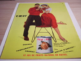 ANCIENNE PUBLICITE JUS DE FRUIT EN BOITE PAM PAM 1957 - Affiches