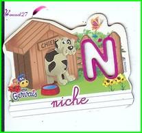 """Magnet Pochoir GERVAIS L'Alphabet De La Ferme Animaux Fruits Produits """" Le N De Niche """" Chien - Letters & Digits"""