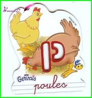 """Magnet Pochoir GERVAIS L'Alphabet De La Ferme Animaux Fruits Produits """" Le P De Poules """" - Letters & Digits"""