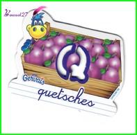 """Magnet Pochoir GERVAIS L'Alphabet De La Ferme Animaux Fruits Produits """" Le Q De Quetsches """" - Letters & Digits"""