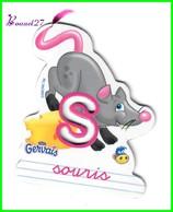 """Magnet Pochoir GERVAIS L'Alphabet De La Ferme Animaux Fruits Produits """" Le S De Souris """" - Letters & Digits"""