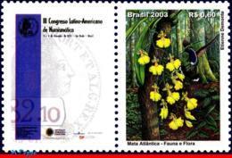 Ref. BR-2916-2 BRAZIL 2003 FLOWERS, PLANTS, ATLANTIC FOREST, BIRDS,, COINS,TREE,MI# 3331,PERSONALIZED MNH 1V Sc# 2916 - Plants