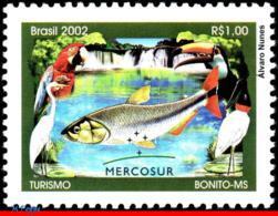 Ref. BR-2860 BRAZIL 2002 FISH, TOURISM, BONITO MS, BIRDS, , MERCOSUR, PARROT, MI# 3278, MNH 1V Sc# 2860 - Neufs