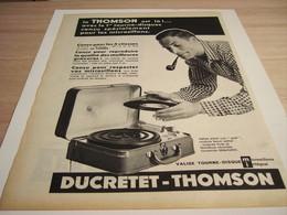 ANCIENNE PUBLICITE TOURNE DISQUE DUCRETET THOMSON 1957 - Autres