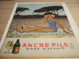 ANCIENNE PUBLICITE BIERE D ALSACE  ANCRE PILS  1957 - Alcohols