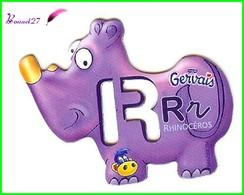 """Magnet Pochoir GERVAIS L'Alphabet Avec Les Animaux """" Le R De Rhinocéros  """" - Letters & Digits"""