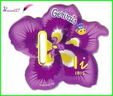 """Magnet Pochoir GERVAIS L'Alphabet Avec Les Fruits Et Les Légumes """" Le I De Iris """" Fleur - Letters & Digits"""